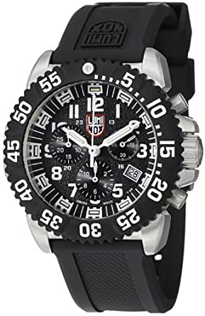 a88087c2b0b6 Image Unavailable. Image not available for. Color  Luminox Navy SEAL  Colormark Chronograph Black Dial stainless Steel Mens Watch 3181