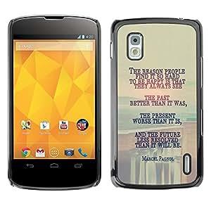 LG Google NEXUS 4 / Mako / E960 , Radio-Star - Cáscara Funda Case Caso De Plástico (Marcel Pagnol - Deep Message)
