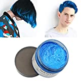 #5: MOFAJANG Blue Hair Color Wax, Natural Hairstyle Wax 4.23 oz, Temporary Hairstyle Cream for Party, Cosplay, Halloween, Daily use, Date, Clubbing (Blue)