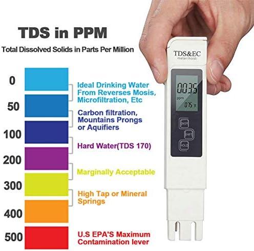 Probador de Medidor PH TDS Tester TDS EC Temperatura PH Medición de Agua Digital para Agua Potable Doméstica 4