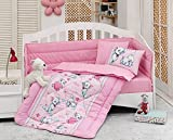 LaModaHome 6 Pcs Luxury Soft Colored Bedroom Bedding 100% Cotton Ranforce Baby Sleep Set Quilt Protector/Soft Relaxing Comfortable Pattern Design Kitty Cat/Baby Bed Size with Flat Seet