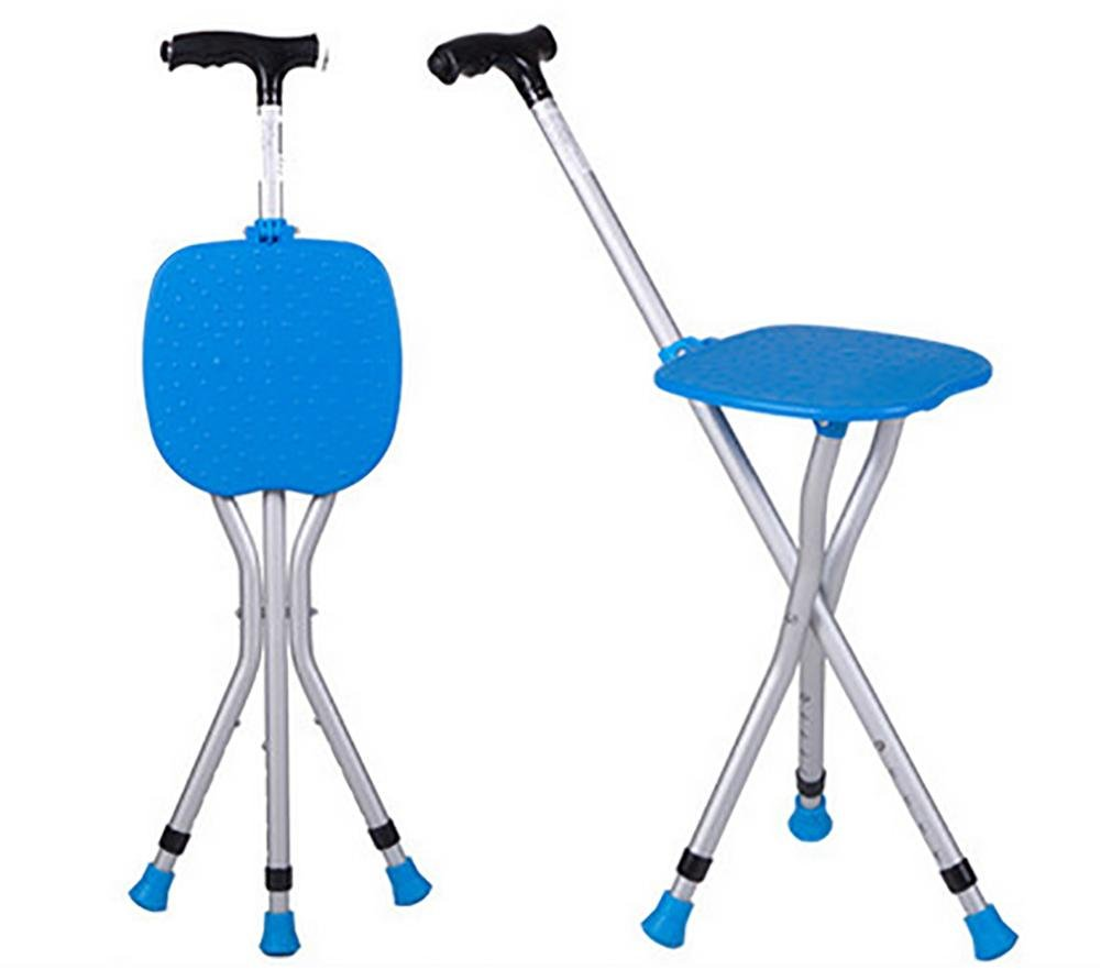 G&M The elderly man with A Crutch Stool Tripod Seat Stick Multifunction With lights Folding Walking Aid Cane Chair , blue by cane
