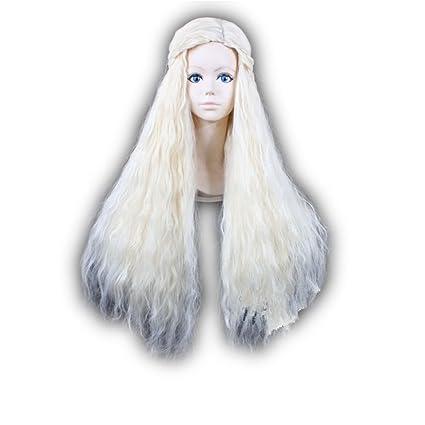 Kaden g de peluca Targaryen Khaleesi Barbarian Beige Rubio Trenzas langhaar Cosplay Wig Game of Thrones