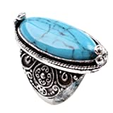 CA Charming Blue Synthetic-Turquoise Tibet Silver Plated Fashion Ring