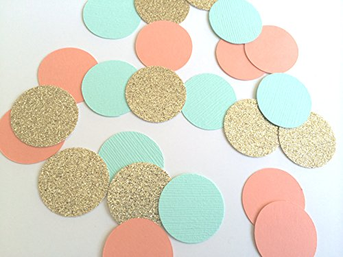 Turquoise, Coral and Gold Glitter Circle Confetti. Party Decorations. 80 Piece Confetti. - Gold Turquoise Coral