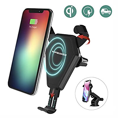 Fast Wireless Charger, Wofalodata Car Mount Air Vent Phone Holder Cradle for Samsung Galaxy Note 8/ S8/ S8+/ S7/ S6 Edge+/ Note 5, QI Wireless Standard Charge for iPhone 8/ 8 Plus/ X by Wofalodata