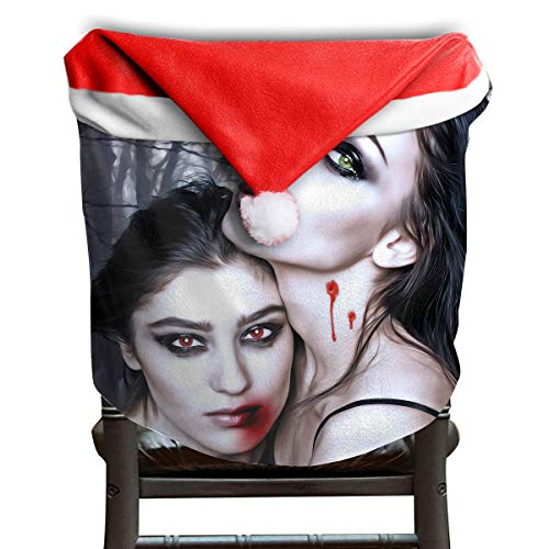 EDYE Halloween Vampire Fantasy Girl Blood Gothic Goth Christmas Xmas Themed Dinning Seat Chair Cap Hat Covers Ornaments for Backers Slipcovers Wraps Coverings Decorations Protector -