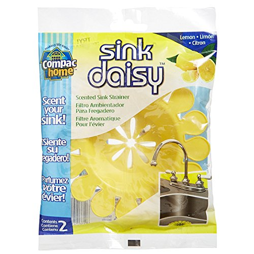 Compacs Sink Daisy, Scented Kitchen Sink Strainer - Infuses and Freshens Your Sink with Crisp, Clean, Exciting Scents, While Protecting Garbage Disposals & Drains, Lemon, 6 Count
