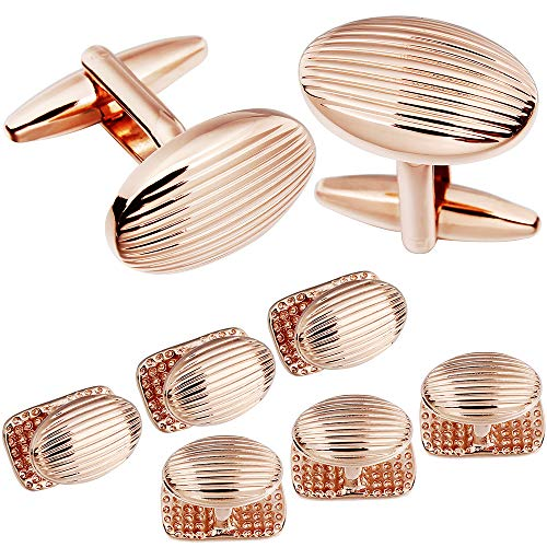 HAWSON Metal Jewelry Cufflinks and Studs Set for Men - Best Gifts for Wedding Business Formal Event