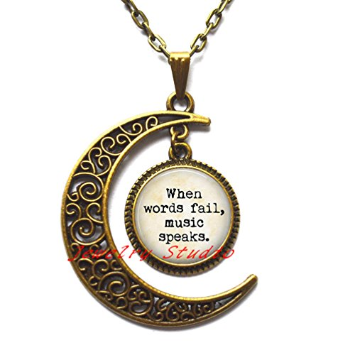 Charming Fashion ,Music Lover Quote Vintage Necklace When Words Fail, Music Speaks. Statement Necklace Vintage Jewelry,Photo Pendant Art Pendant Photo Jewelry Art Jewelry Glass jewelry-HZ00142 -