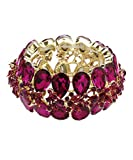 DK FASHION Aurora Borealis Butterfly Crystal Stretch Bracelet - One Size Fits Most for Prom, Bridesmaids, and Weddings (Gold/Fuschia)