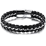 Men's Magnetic Buckle Stainless Steel Genuine Leather Rope - Best Reviews Guide