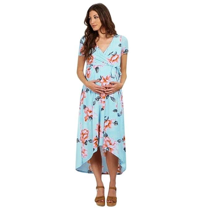 Amphia Vestido Premamá, Vestido de Estampado de Cuello V de Embarazo para Mujeres Vestido de