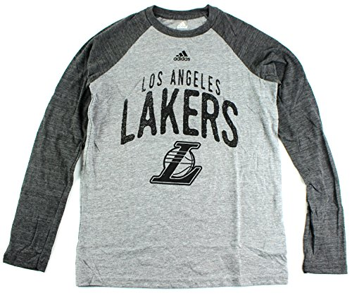 adidas Los Angeles Lakers NBA Youth Pedigree Triblen Raglan Long Sleeve T-Shirt Gray (Youth XLarge 18)