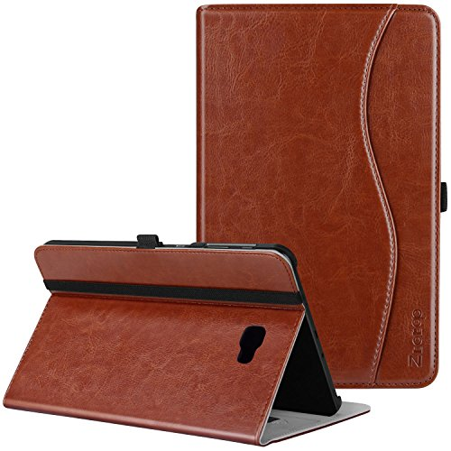 Samsung Galaxy Tab A 10.1 Case - Ztotop Leather Folio Case Cover for Samsung 10.1 Inch Tablet SM-T580 T585(NO S Pen Version) with Auto Wake/Sleep and Card Slots, Multiple Viewing Angles, Brown