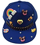 AOYOMO Boys Girls Kids DIY Candy Dance Hiphop Baseball Cap Hat Dark Blue