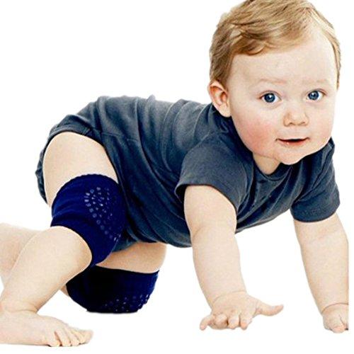 Voberry Baby Crawling Anti-Slip Knee Compression Sleeve Unisex Kneecap (Navy)