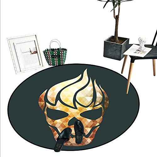 Modern Round Rug Kid Carpet Gothic Skull with Fractal Effects in Fire Evil Halloween Concept Home Decor Foor Carpe (2'3