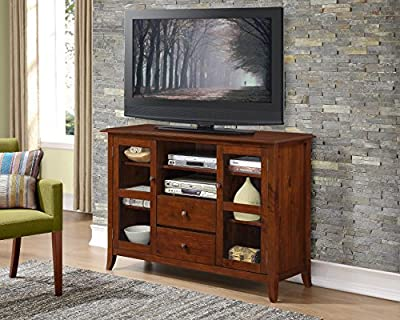 "Simpli Home Devon Tall TV Media Stand for TVs up to 60"", Medium Mahogany Brown"