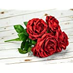 OOKi-Artificial-Fake-Flowers-1-Bouquet-with-6-Silk-6-Big-Rose-Head-Flower-Arrangements-Wedding-Bouquets-Decorations-Plastic-Floral-Table-Centerpieces-Home-Kitchen-Garden-Party-Dcor-Red