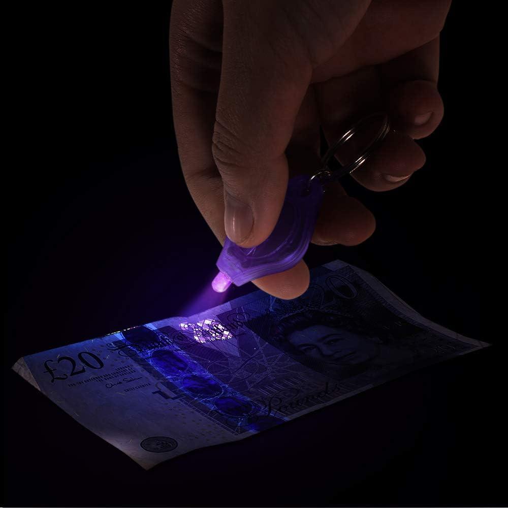 10 Unids Mini Port/átil UV LLEV/Ó la Luz Linterna Llavero Ultra Brillante Llavero Luz de la Antorcha Moneda Pasaportes Detector
