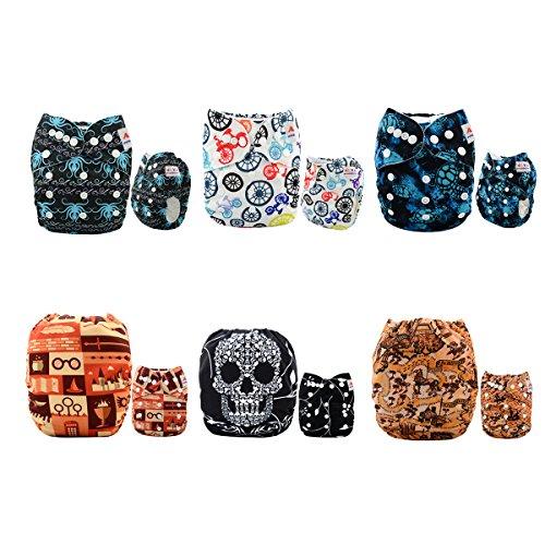 ALVABABY Reuseable Washable Pocket Cloth Diapers 6PCS + 12 Inserts (Boy Color), Gift Sets 6DM21