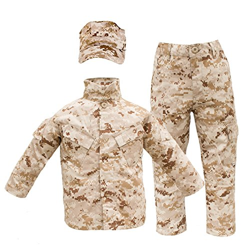 Marines Uniform Costume (Kids USMC 3 pc Desert Camo United States Marine Corps Uniform (Medium 10-12))