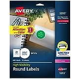 "Avery Round Labels, 1-2/3"" Diameter, White, Pack of 600 -- Make Custom Stickers"
