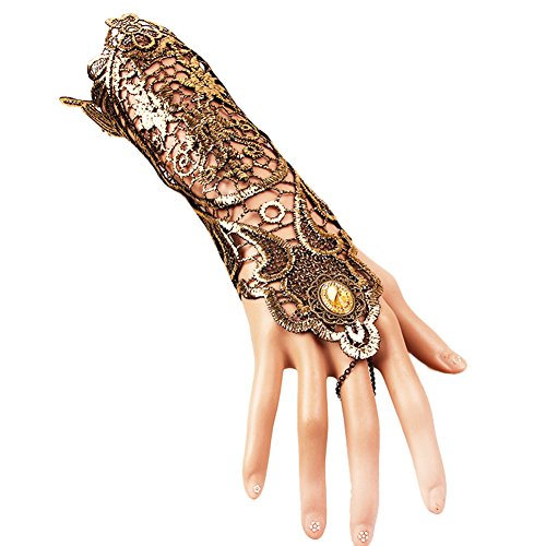 Qinlee Women's Lace Elastic Gloves Vintage Fingerless Lace Rhinestone Gloves for Party ()