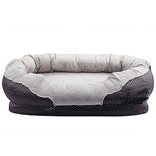 (Pet Deluxe Orthopedic Dog Bed with Padded Rim Cushion and Nonslip Bottom, Grooved Orthopedic Foam Pet Bed with Extra Comfy Cotton - Grey (Large - 38'' x 30''))