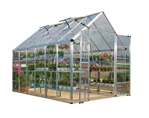 Palram HGK129 Snap & Grow Hobby Greenhouse w/Starter Kit, 8′ x 12′ x 9′ Silver