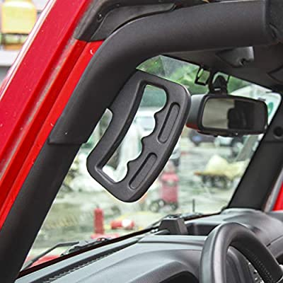RT-TCZ Aluminum Grab Handle for Jeep Wrangler JK 2007-2020 (Front Handle, Black): Automotive
