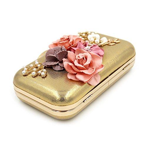 Alto grado de perlas de flores de diamantes de cuentas del bolso del bolso de tarde del embrague del banquete Silver