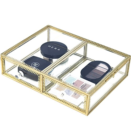 Hersoo Large Mirror Glass Top Dresser Make Up Organizer Jewelry &Cosmetic Display, Stackable Cube 6 Drawers Set Dresser Storage for Vanity with Lid,Bathroom Accessories Brushes Container (2drawerg)