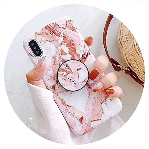 Marble Pattern Kickstand Phone Case for iPhone X 6 6S 7 8 Plus Fashion IMD Soft Protective Phone Back Cover Case Coque,b,for iPhone 6 6S ()