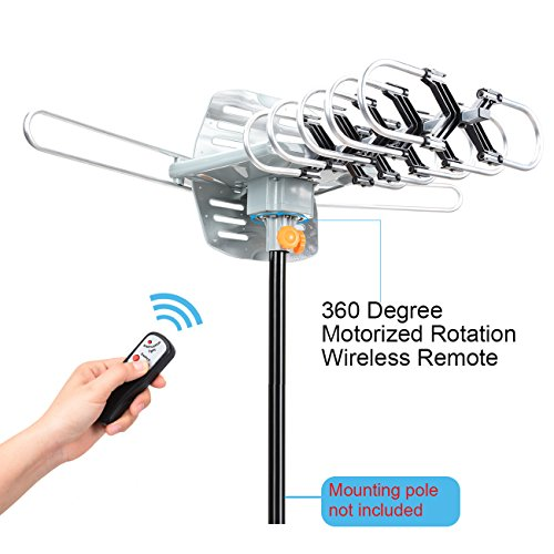 ... HDTV Antenna 150 Mile Range Motorized 360 Degree Rotation, Antennae for 2 TVs Support - UHF/VHF Signal Wireless Remote Control - Longer 33FT Coax Cable: ...