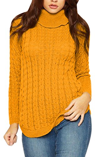 Viottis Women's High Neck Cable Knit Aran Knitwear Pullover Sweater Yellow XL