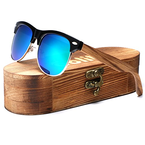 Ablibi Bamboo Wood Clubmaster Sunglasses with Polarized Lenses in Original Boxes (Zebra Wood, - Sunglasses Sustainable