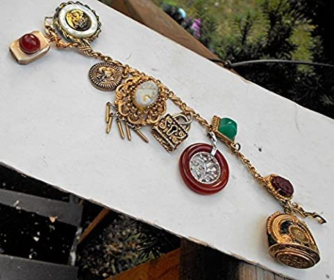 Victorian Style Etruscan Slide 8 Charm Bracelet, w/Victorian Wax Seal, Cameos, Heraldic Armor, Lock, Filigree, Natural Stones Etc.. One of a (Wedgewood Pendant)