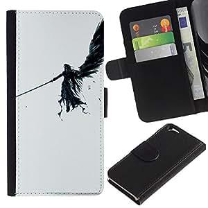 EJOY---Tirón de la caja Cartera de cuero con ranuras para tarjetas / Apple Iphone 6 / --ÁNGEL OSCURO