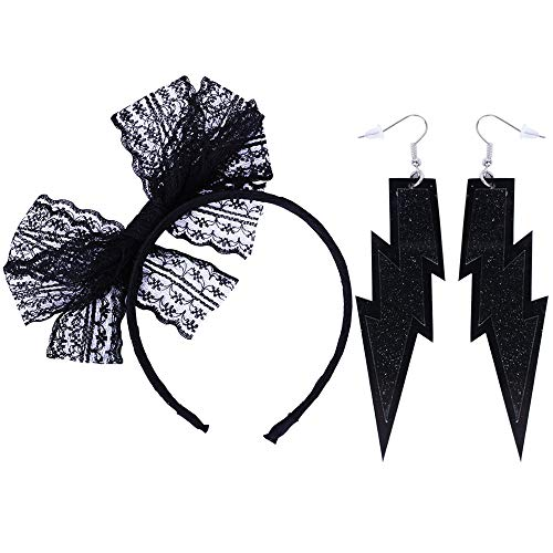 LEKUSHA Women's 80s Costume Accessories Neon Lace Headband Hair Band with Neon Lightning Earrings - Black