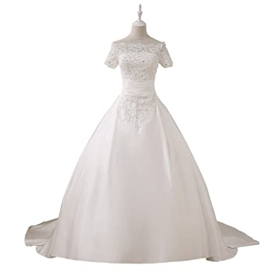 Qing Lace Beading Wedding Dresses Applique Full Length Ball Gown ...