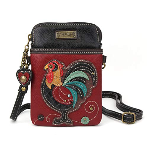 (Chala Crossbody Cell Phone Purse - Women PU Leather Multicolor Handbag with Adjustable Strap - Rooster Burgundy)