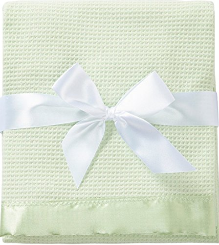 Thermal Waffle Weave Baby Blanket with Satin Nylon Trim (Mint Green)