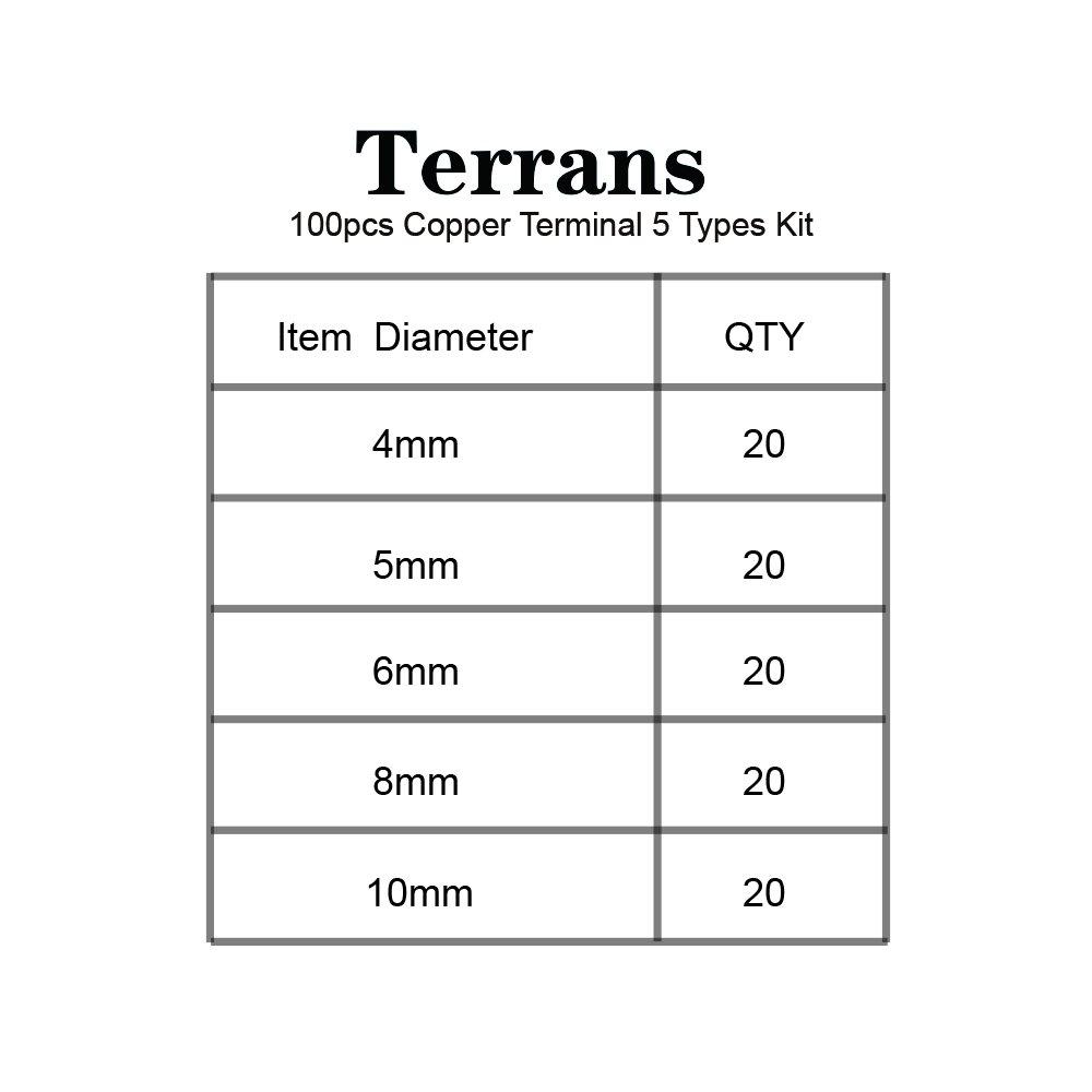 Terrans 100 Pcs Non-Insulated Copper Ring Terminals Assortment Kit ...