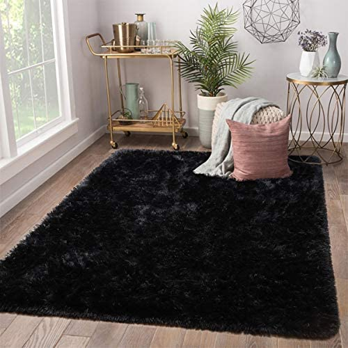 Terrug Soft Kids Room Rug, Black Shag Area Rugs for Bedroom Living Room Carpet,Plush Fluffy Fur Rug for Nursery Girls Dorm Home Decor,5X8 Feet, Black