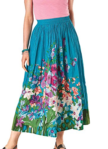 Carol Wright Gifts Floral Print Cotton Skirt, Color Turquoise, Size Medium, Turquoise, Size Medium