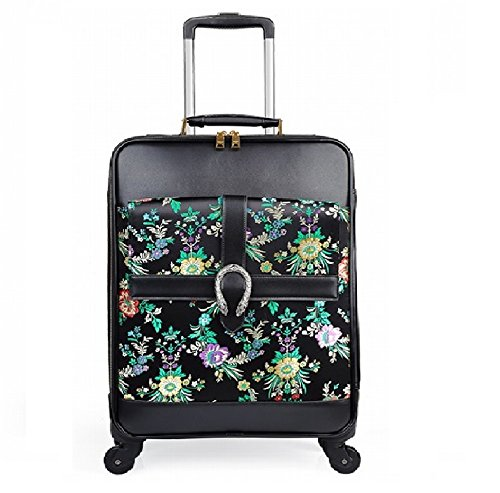 16 inch 20 inch 24inch Vintage Wheeled Rolling Tote travel suitcase Luggage Spinner Mobile Office for women girls - 16 Tote Wheeled