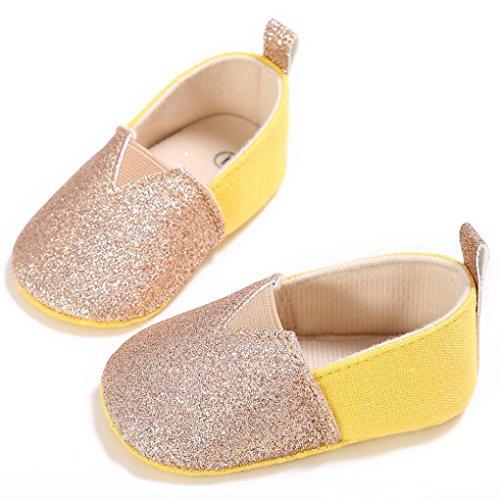 Zapatos de bebé, Switchali zapatos bebe niña verano Recién nacido Niño Cuna Suela blanda Antideslizante Zapatillas Bebé niña Flor vestir casual Oro