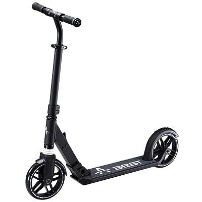 Aest Trottinette De Ville Pliable Pour Adultes à Grande épreuve Avec un Scooter De Bordereau De Ville à Suspension De 200MM, - Noir